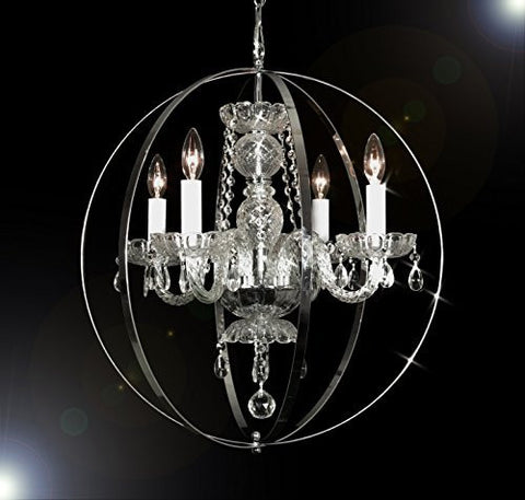 "Swarovski Crystal Trimmed Chandelier! Foucault'S Orb Crystal Chandelier Lighting! H 23"" W 23"" - Go-A46-B66/275/4Sw"