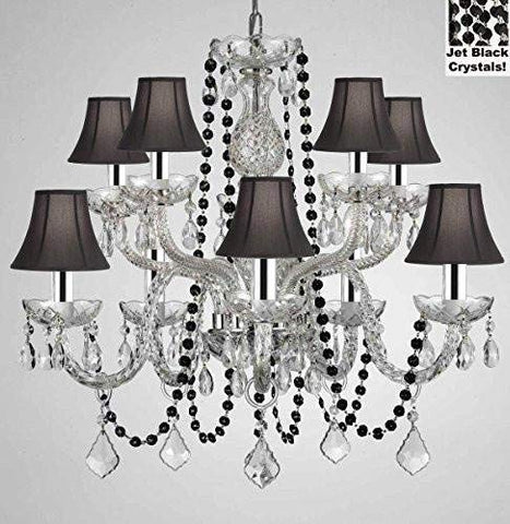"Authentic All Crystal Chandelier Chandeliers Lighting with Jet Black Crystals and Black Shades! Perfect for Living Room, Dining Room, Kitchen, Kid'S Bedroom W/Chrome Sleeves! H25"" W24"" - G46-B43/B80/CS/BLACKSHADES/1122/5+5"
