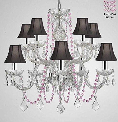 "Authentic All Crystal Chandelier Chandeliers Lighting with Pretty Pink Crystals and Black Shades! Perfect for Living Room, Dining Room, Kitchen, Kid'S Bedroom W/Chrome Sleeves! H25"" W24"" - G46-B43/B84/CS/BLACKSHADES/1122/5+5"