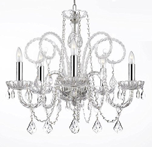 "Empress Crystal (Tm) Chandelier Lighting H25"" X W24"" With Chrome Sleeves - A46-B43/385/5"
