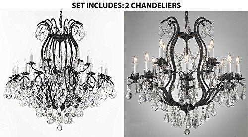 "Set Of 2 - Wrought Iron Crystal Chandelier Lighting Empress Crystal (Tm) H46"" W46"" Perfect For An Entryway Or Foyer And Wrought Iron Crystal Chandelier Lighting Chandeliers H30"" X W28"" - 1Ea-3034/18+6 + 1Ea-3034/8+4"