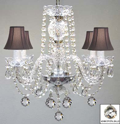 Murano Venetian Style All Crystal Chandelier W/ Crystal Balls And Black Shades - A46-B6/Blackshades/275/4