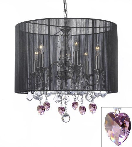 "Crystal Chandelier With Large Black Shade And Pink Crystal Hearts H 19.5"" X W 18.5"" - F7-B21/1124/6"