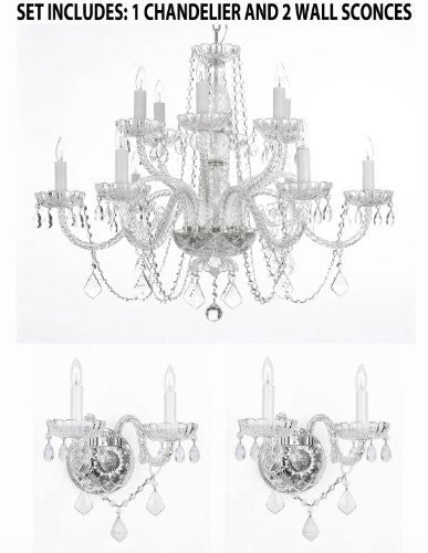 "Three Piece Lighting Set - Crystal Chandelier H27"" X W32"" And 2 Wall Sconces - 1Ea 385/6+6 + 2Ea B12/2/386"