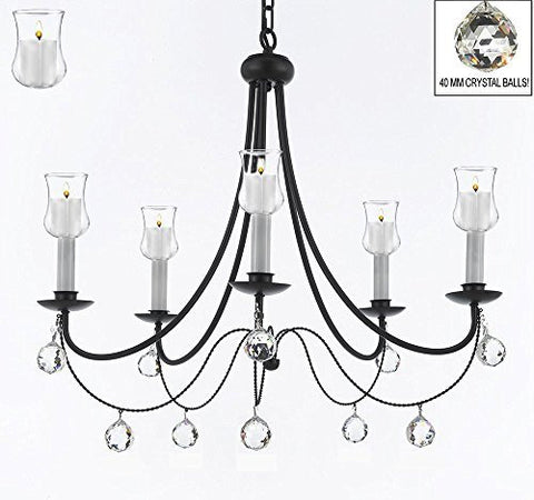 "Empress Crystal (Tm) Wrought Iron Chandelier Chandeliers Lighting With Candle Votives H.22.5"" X W.26"" With Crystal Balls! - A7-B31/B6/403/5"