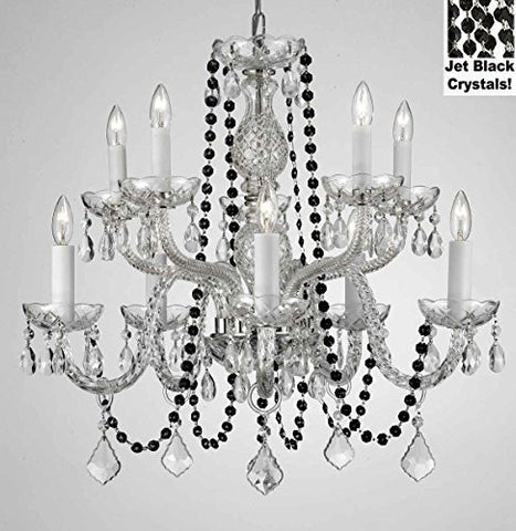 "Authentic All Crystal Chandelier Chandeliers Lighting With Jet Black Crystals! Perfect For Living Room, Dining Room, Kitchen, Kid'S Bedroom! H25"" W24"" - G46-B80/Cs/1122/5+5"