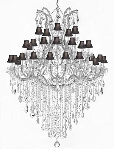 Maria Theresa Crystal Chandelier Trimmed With Spectratm Crystal And Black Shade - Reliable Crystal Quality By Swarovski - Gb104-Silver/Blackshade/B13/2756/36+1Sw