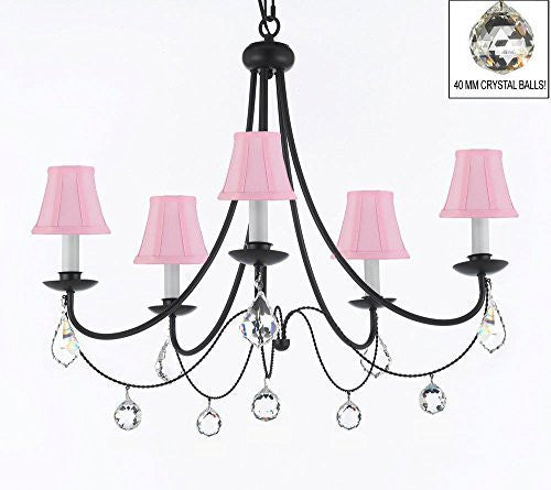 "Empress Crystal (Tm) Wrought Iron Chandelier Lighting H.22.5"" X W.26"" With Pink Shades And Crystal Balls! Swag Plug In-Chandelier W/ 14' Feet Of Hanging Chain And Wire! - A7-B16/Sc/Pinkshades/B7/B6/403/5"