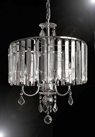 Contemporary 3-Light Crystal Chandelier Lighting With Crystal Shade! - G7-B8/Silver/1000/3
