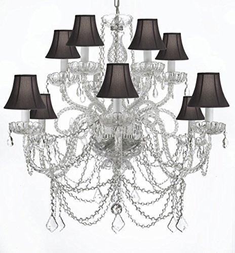 Murano Venetian Style All-Crystal Chandelier With Black Shades - A46-Blackshades/Silver/4/385/6+6