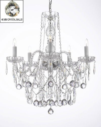 All Crystal Chandelier W/ 40Mm Crystal Balls & Crystal Icicles - G46-B29/3/384/5