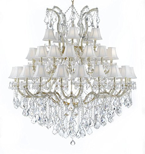 Maria Theresa Empress Crystal (Tm) Chandelier Lighting With White Shades - Cjd-Cg/Whiteshades/2181/52