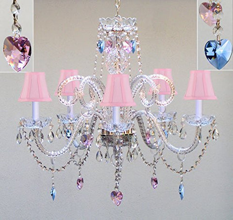 "Authentic All Crystal Chandelier Chandeliers Lighting With Sapphire Blue & Pink Crystal Hearts & Pink Shades Perfect For Living Room Dining Room Kitchen Kid'S Bedroom H25"" W24"" - A46-B85/B21/Pinkshades/387/5"