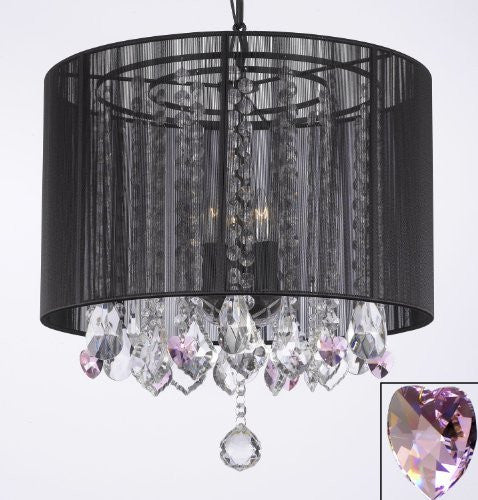 "Crystal Chandelier With Large Black Shade And Pink Crystal Hearts H15"" X W15"" - Perfect For Kids' And Girls Bedrooms - G7-B21/Black/Sm/26029/3"