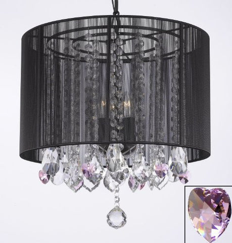 "Crystal Chandelier With Large Black Shade And Pink Crystal Hearts H15"" X W15"" - Perfect For Kids' And Girls Bedrooms - G7-B21/Black/Sm/604/3"