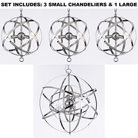 Set Of 3 Over Island With One Large Over Kitchen Table Wrought Chrome Orb Chandelier - 3Eag7-2155/3+1Eag7-26039/6