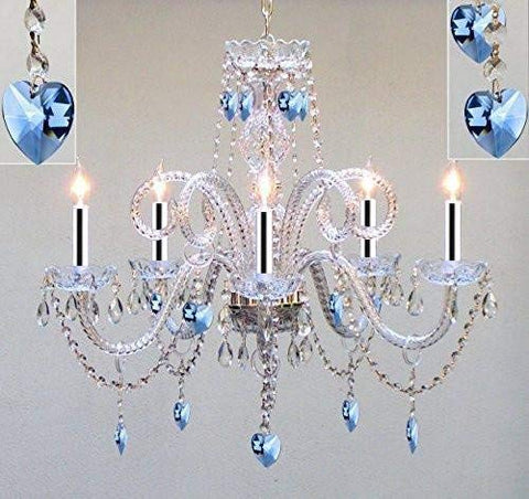 "Chandelier Lighting Dressed with Blue Empress Crystal (Tm) Hearts H25"" X W24"" Chandelier Lighting w/Chrome Sleeves! - GO-B43/A46-HEARTS/B85/387/5/PINK"