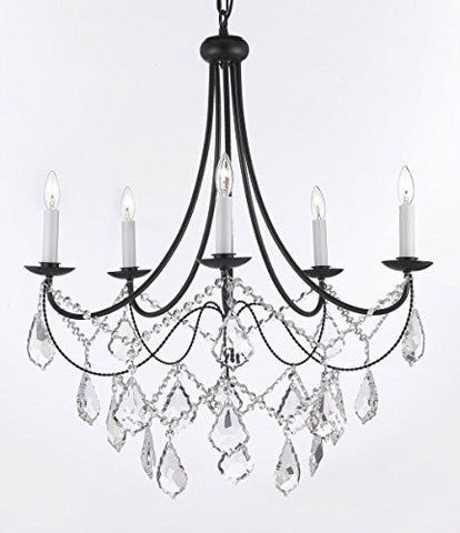 "Wrought Iron Chandelier Lighting H22.5"" X W26"" Trimmed With Spectra (Tm) Crystal - Reliable Crystal Quality By Swarovski Swag Plug In-Chandelier W/ 14' Feet Of Hanging Chain And Wire - J10-B12/B16/26031/5Sw"