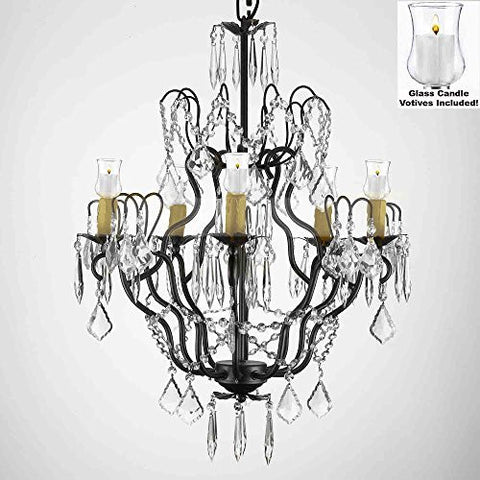 "Crystal Chandelier W/ Candle Votives H27"" X W21""- For Indoor / Outdoor Use! Great For Outdoor Events, Hang From Trees / Gazebo / Pergola / Porch / Patio / Tent ! - P7-B31/C/3033/5"