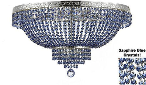 "French Empire Semi Flush Crystal Chandelier Lighting - Dressed With Sapphire Blue Color Crystals H21"" X W30"" - F93-B82/Flush/Cs/870/14"