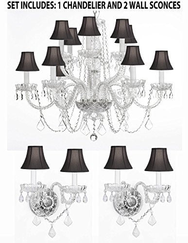 "Three Piece Lighting Set - Crystal Chandelier H27"" X W32"" And 2 Wall Sconces With Black Shades - 1Ea Blkshd/385/6+6 +2Ea Blkshd/B12/2/386"