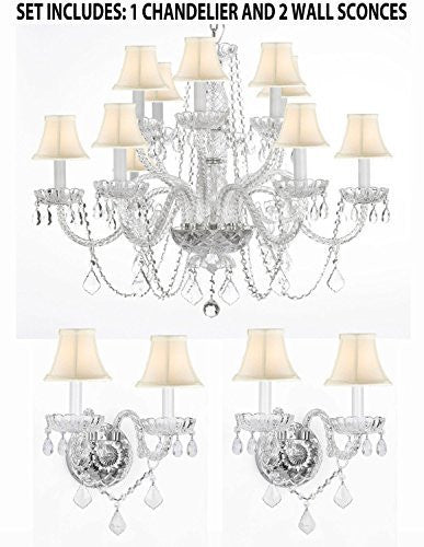 "Three Piece Lighting Set - Crystal Chandelier H27"" X W32"" And 2 Wall Sconces With White Shades - 1Ea Whtshd/385/6+6 +2Ea Whtshd/B12/2/386"