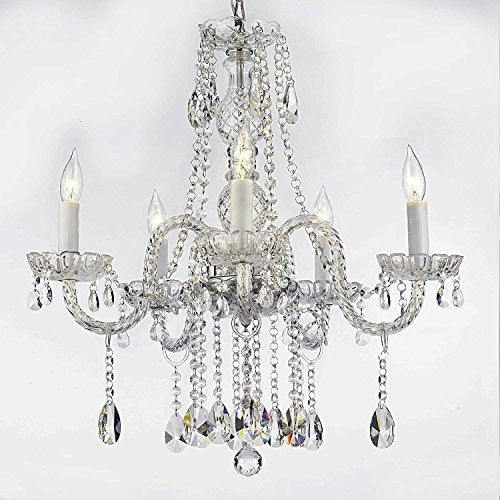 "Authentic All Crystal Chandeliers Lighting Chandeliers H27"" X W24"" - A46-B14/384/5"