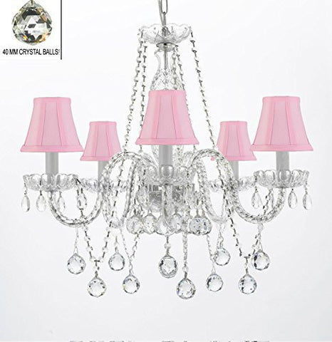 "Authentic All Crystal Chandeliers Lighting Empress Crystal (Tm) Chandeliers With Crystal Pink And Shades H27"" X W24"" - G46-Pinkshades/B37/384/5"