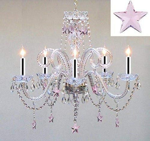 "Swarovski Crystal Trimmed Chandelier! Crystal Chandelier Lighting with Pink Crystal Stars w/Chrome Sleeves H25"" X W24"" - Nursery, Kids, Girls Bedrooms, Kitchen, Etc! - GO-B43/A46-B38/387/5/PINK SW"