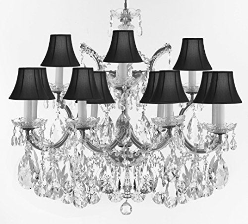 "Swarovski Crystal Trimmed Maria Theresa Chandelier Crystal Lighting Fixture Pendant Ceiling Lamp for Dining room, Entryway , Living room With Large, Luxe Crystals! H22"" X W28"" w/ Black Shades - A83-CS/BLACKSHADES/B89/21532/12+1SW"