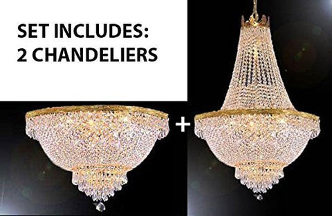 "Set Of 2 - French Empire Crystal Chandelier Lighting H30"" X W24"" + French Empire Crystal Semi Flush Chandeliers Lighting H18"" X W24"" - Foyer Hallway Bedroom Kitchen- Works For All Locations - 1Eaa93-870/9+1Eaa93-Flush/870/9"