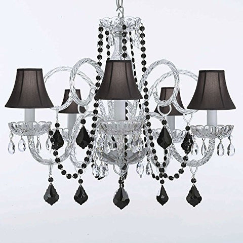 Chandelier Lighting Empress Crystal(Tm) With Black Color Crystal And Shades - A46-Blackb2/Blackshades/385/5