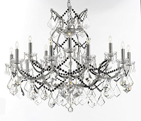 "Maria Theresa Chandelier Lighting Crystal Chandeliers H28 ""X W37"" Chrome Finish Dressed With Jet Black Crystals Great For The Dining Room Living Room Family Room Entryway / Foyer - J10-B62/B80/Chrome/26050/15+1"