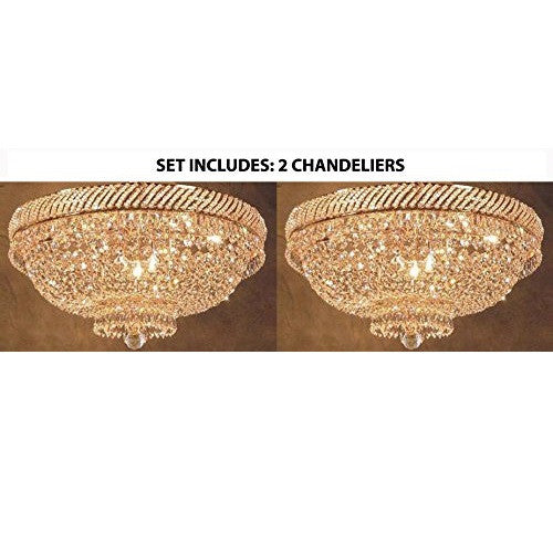 "Set Of 2 French Empire Crystal Flush Chandelier Lighting H 16"" W 23"" - 2Ea-F93-Flush/448/9"