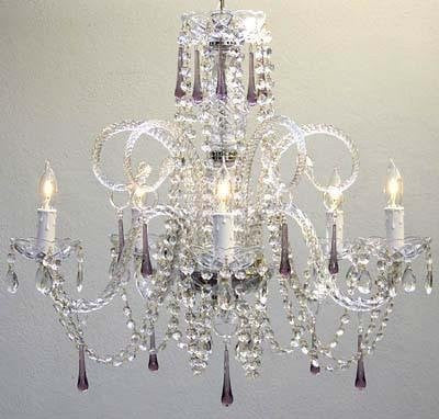 "Amethyst Purple Crystal Chandelier H25"" X W24"" - Go-A46-387/5Purple"