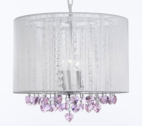Crystal Chandelier Chandeliers With Large White Shade and Pink Crystal Hearts! H15 x W15 - Perfect for Kids' and Girls Bedrooms! - G7-B23/WHITE/SM/604/3-PINK HEARTS