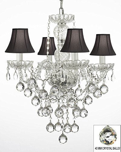"New Authentic All Crystal Chandelier Lighting W/ 40Mm Crystal Balls And With Black Shades H22"" X W17"" - G46-Blackshades/B6/3/275/4"