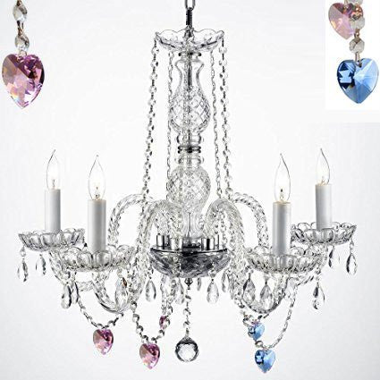"Authentic Empress Crystal(Tm) Chandelier Lighting Chandeliers With Blue And Pink Crystal Hearts H25"" X W24"" - G46-B85/B21/384/5"