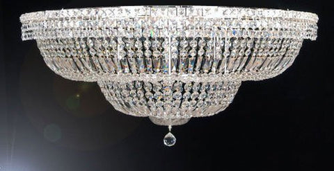 "Flush Basket French Empire Crystal Chandelier Lighting H 24"" W 40"" - A93-Flush/Cs/454/18"
