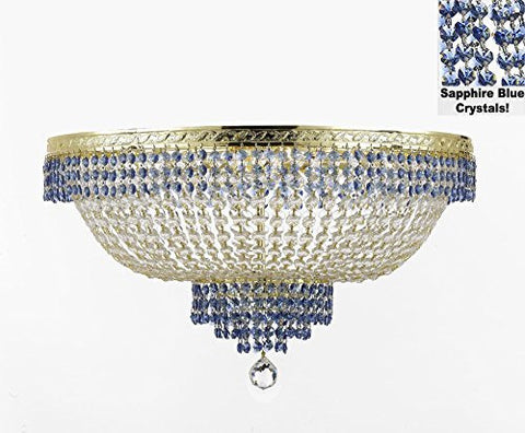 "Flush French Empire Crystal Chandelier Lighting Trimmed With Sapphire Blue Crystal Good For Dining Room Foyer Entryway Family Room And More H18"" X W24"" - F93-B83/Cg/Flush/870/9"