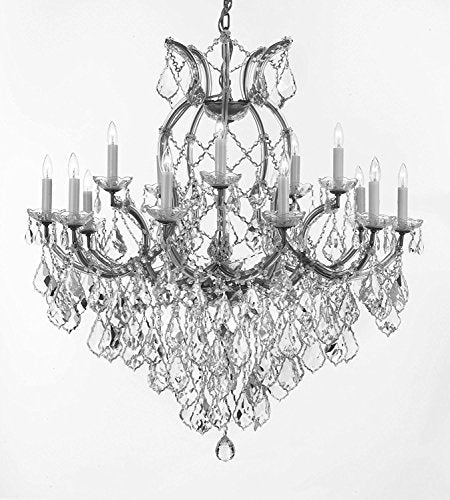 "Swarovski Crystal Trimmed Maria Theresa Chandelier Lights Fixture Pendant Ceiling Lamp For Dining Room Entryway Living Room Dressed With Large Luxe Crystals H38"" X W37"" - A83-B90/Silver/21510/15+1Sw"