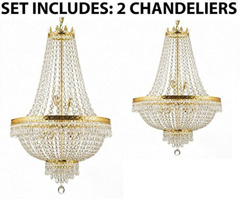 Set Of 2 - 1 For Entryway/Foyer And 1 For Dining Room French Empire Empress Crystal (Tm) Chandeliers Chandelier Lighting - 1Ea Cg/870/14 + 1Ea Cg/870/9