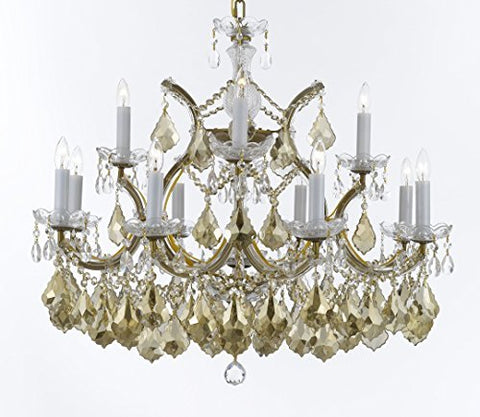 "Maria Theresa Chandelier Crystal Lighting H 22"" X W 28"" W/ Golden Teak Crystal Good For Dining Room, Entryway , Living Room - A83-B2/GOLDENTEAKGOLD/1534/12+1"