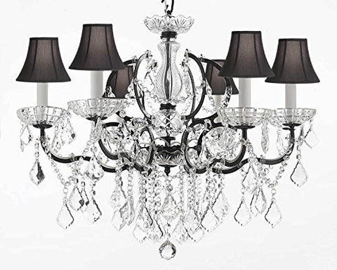 "Nineteenth C. Rococo Iron & Crystal Chandelier Lighting Dressed With Empress Crystal And Black Shades H 25"" X W 26"" - G83-Blackshades/994/6"