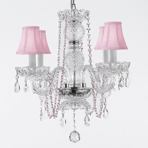 Crystal Chandelier Lighting With Pink Color Crystal And Shades - A46-Pinkb1/Pinkshades/275/4