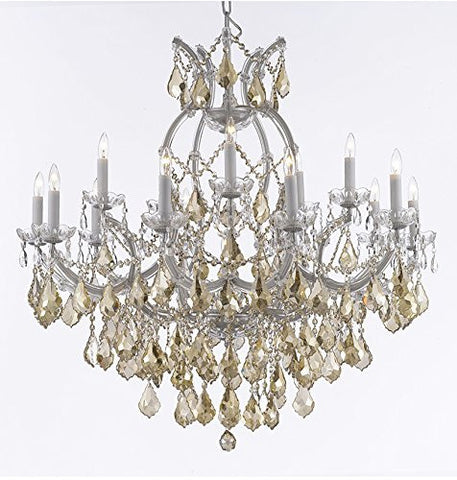 "Maria Theresa Chandelier Crystal Lighting H38"" X W37"" W/ Golden Teak Crystal - A83-B2/Goldenteak/Silver/21510/15+1"