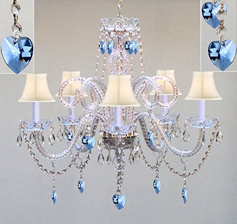 "Authentic All Crystal Chandelier Chandeliers Lighting With Sapphire Blue Crystal Hearts And White Shades Perfect For Living Room Dining Room Kitchen Kid'S Bedroom H25"" W24"" - A46-B85/Whiteshades/387/5"