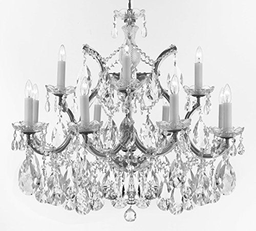 "Swarovski Crystal Trimmed Maria Theresa Chandelier Crystal Lighting Chandeliers Lights Fixture Pendant Ceiling Lamp for Dining room, Entryway , Living room With Large, Luxe Crystals! H22"" X W28"" - A83-CS/B89/21532/12+1SW"