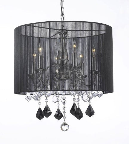 Crystal Chandelier W/ Large Black Shade Jet Black Crystal Pendants - F7-B20/1124/6