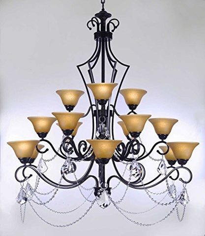 "Swarovski Crystal Trimmed Chandelier Wrought Iron Chandelier With Crystal H51"" X W49"" - Perfect For An Entryway Or Foyer - F84-B12/451/15Sw"